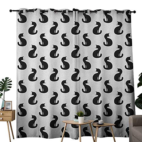 NUOMANAN Window Curtain Fabric Cat,Silhouette of a Kitten Monochrome Feline Pattern House Pet Illustration Halloween, Black White,Rod Pocket Curtain Panels for Bedroom & Living Room 52