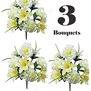 Realistic Faux Flower Bouquets or Centerpiece Arrangements, 3 Unit Pack, Collection of Spring Whites, Silky Blooms of Roses, Lilies, and Hydrangea Spray, Grass, Leaves, Each 16 Tall Inches 6