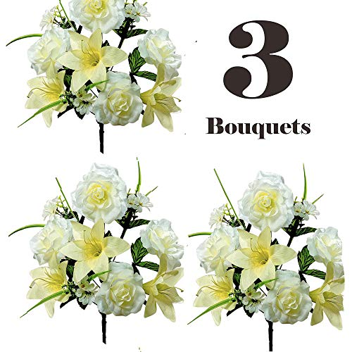 (Realistic Faux Flower Bouquets or Centerpiece Arrangements, 3 Unit Pack, Collection of Spring Whites, Silky Blooms of Roses, Lilies, and Hydrangea Spray, Grass, Leaves, Each 16 Tall Inches)