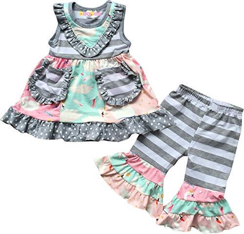 Boutique Little Girls Summer Flowers Floral Ruffles Top Capri Outfit Gray Stripes 6/2XL ()
