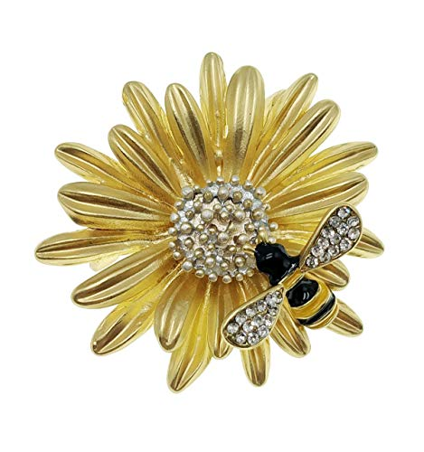 Ahugehome Womens Brooch Pin Sunflower Alloy Enamel Inlay Crystal Dress Shirt Suit Sweater Coat Gift Packaging (J Gold Sunflower bee)