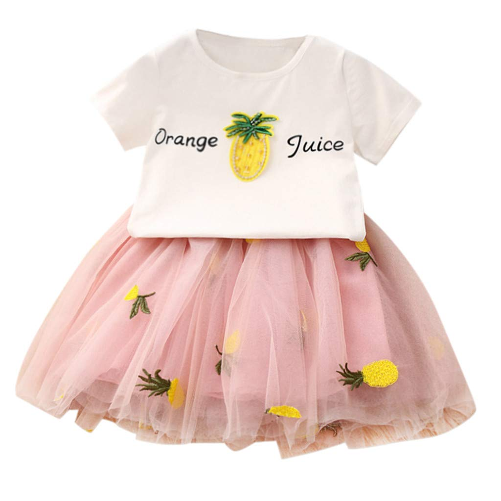 Baby Girls Dress 2pcs Set, Toddler Short Sleeve Tops T-Shirt+Pineapple Tutu Skirt Outfits Clothes (4-5 Years, Pink) by Hopwin Baby girls Suits (Image #1)