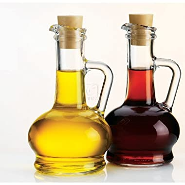 Value Saving Glass Oil & Vinegar Bottles Cruet Set with Pourers