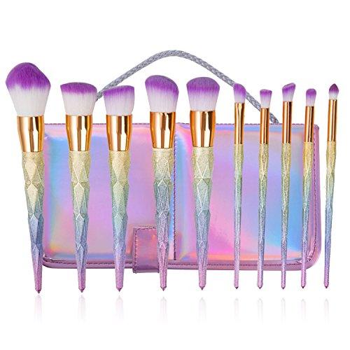 BYBOO10 Pcs Make up Brush Set Diamond Gradient Unique Shape Contour Eye Face Nose Lip BB Cream Powder Foundation Brushes with Travel - Shape Face Diamond