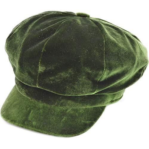 - Express Hats Ladies/Women's Luxury Velvet Bakerboy Caps in 6 Colours - One Size (Green)