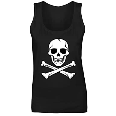 39c22e2fa32280 Womens Skull And Crossbones Pirate Vest Tank Top  Amazon.co.uk  Clothing