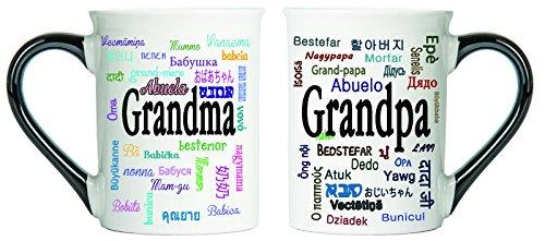 Grandma and Grandpa Set Of Two Mugs, Around The World Ceramic Coffee Cups By Tumbleweed