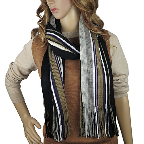 Debra Weitzner Knitted Winter Scarf, Mens Womens, Colorful Knit Striped Scarf