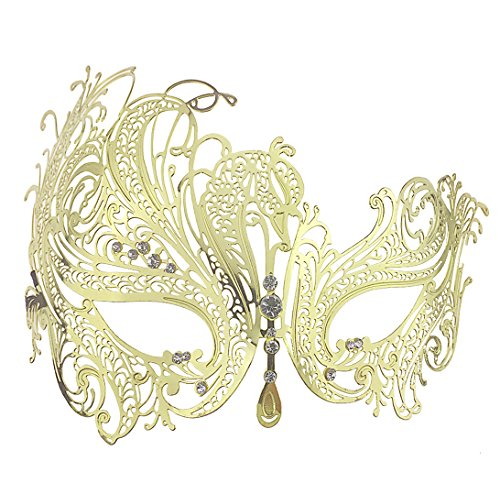Glitter Metal Lady Masquerade Mask Halloween Mardi Gras Party Mask (Gold) (Gold Mardi Gras Mask)
