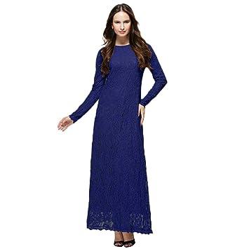 47ea1a7c415 Amazon.com  Muslim Ramadan Lady Slimming Long Dress Lace Dress Double Layer Casual  Long Dress Abaya Long Robe Gowns Tunic Turkish Hijab (L