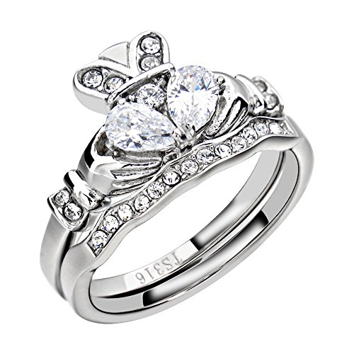 Claddagh Set - FlameReflection Stainless Steel Claddagh Wedding Ring Set AAA Cz Irish Bands for Women size 8 SPJ