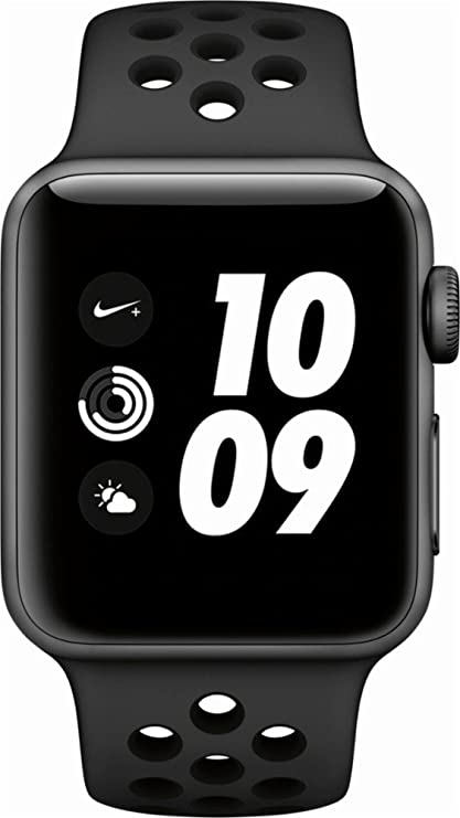 low priced 5c71d 14d29 Apple Watch Nike+ Series 3, 38MM, GPS Only Space Gray Aluminum Case  Anthracite/Black Nike Sport Band (Renewed)