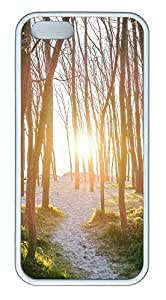 iPhone 5 5S Case landscapes nature sun trees 28 TPU Custom iPhone 5 5S Case Cover White