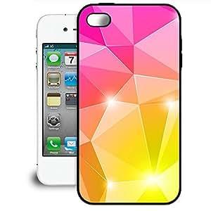 Bumper Phone Case For Apple iPhone 4/4S - Pink & Gold Diamonds TPU Soft Edge