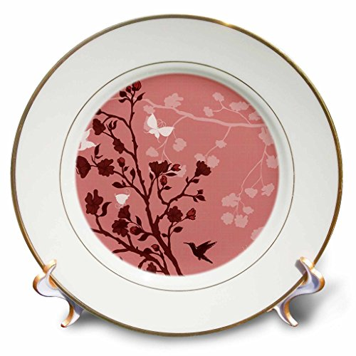 Plate Blossom Cherry (3dRose cp_78451_1 Red on Red Cherry Blossoms with A Hummingbird and Butterflies-Porcelain Plate, 8-Inch)