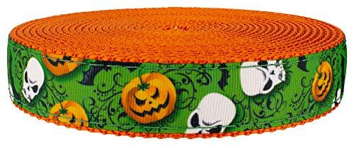 Country Brook Design - 3/4 Inch Ghoulish Delights Ribbon on Orange Nylon Webbing, 50 -