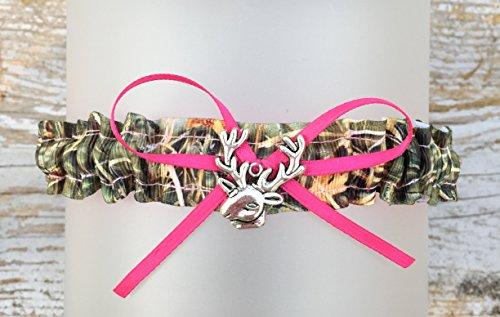 Sexy Camouflage Hot Pink Satin Wedding Tossing Bridal Toss Garter - Deer Head ()