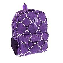 Ever Moda Quatrefoil Clover School Camping Travel Work Backpack Jp Purple White