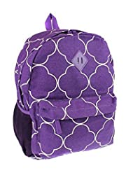 Ever Moda Quatrefoil Clover School Camping Travel Work Backpack Jp Purple White