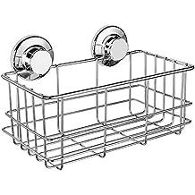 iPEGTOP Suction Cup Deep Shower Caddy Bath Wall Shelf for Large Shampoo Shower Gel Holder Bathroom Storage - Rustproof Stainless Steel