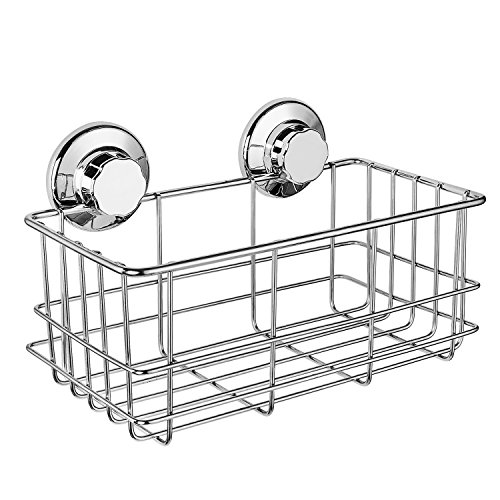 (iPEGTOP Suction Cup Deep Shower Caddy Bath Wall Shelf for Large Shampoo Shower Gel Holder Bathroom Storage - Rustproof Stainless Steel)