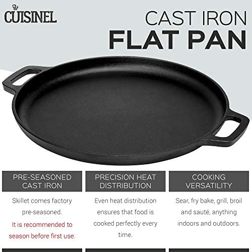 Pre-Seasoned Cast Iron Pizza and Baking Pan 13.5 Inch Natural Finish, Enhanced Heat Retention and Dispersion Stove, Oven, Grill or Campfire