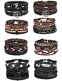 28Pcs Braided Leather Bracelet for Men Women Wooden Beaded Cuff Wrap Bracelet Adjustable C