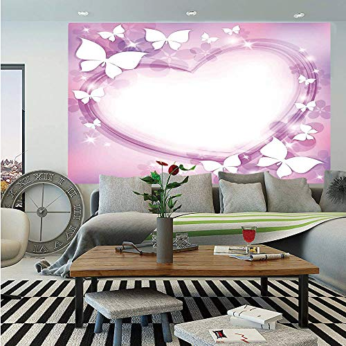 SoSung Room Decor Wall Mural,Magical Pink Butterfly Fairy Heart Romantic Love Violet Wedding Themed Girls Art Print,Self-Adhesive Large Wallpaper for Home Decor 83x120 inches,