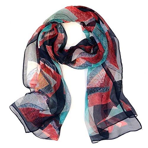 Multi Floral Scarf - ALLYDREW Beautiful Fashionable Long Chiffon Scarf Hair Wrap Chiffon Head Wrap, Navy/Red