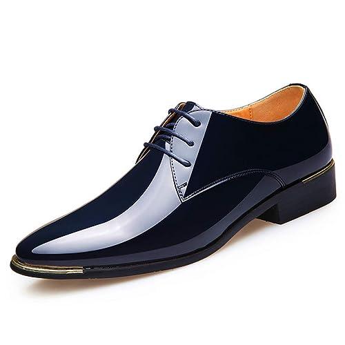 86818de2688 Zapatos de Derby para los Hombres de Charol Zapatos de Vestir de Oxford  Blanco Formal Masculino caída de los Pisos de envío  Amazon.es  Zapatos y  ...
