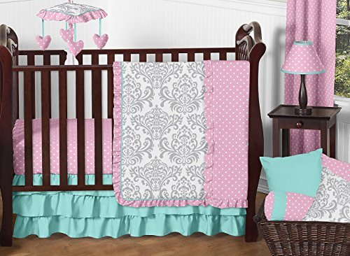 Sweet Jojo Designs 11-Piece Boutique Skylar Turquoise Blue Pink Polka Dot and Gray Damask Girls Baby Bedding Crib Set Without Bumper