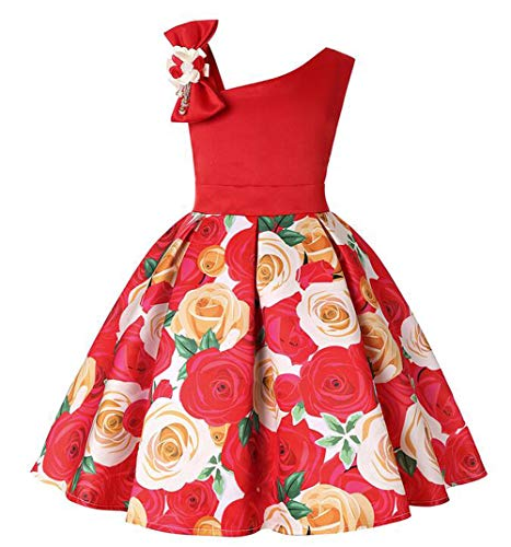 Tueenhuge Baby Girls Christmas Dress Toddler Snowflake Print Party Wedding Formal Dresses (Red4, 5-6 Years)
