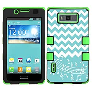 One Tough Shield ? 3-LAYER Hybrid Phone Case (Black/Green) for LG Optimus Showtime L86C / L86G and Straight Talk LG Optimus Ultimate L96G - (Chevron/Teal/Music Notes)