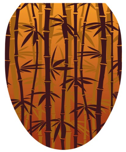Toilet Tattoos TT-1033-O Bronzed Bamboo Design Toilet Seat Applique, Elongated by Toilet Tattoos