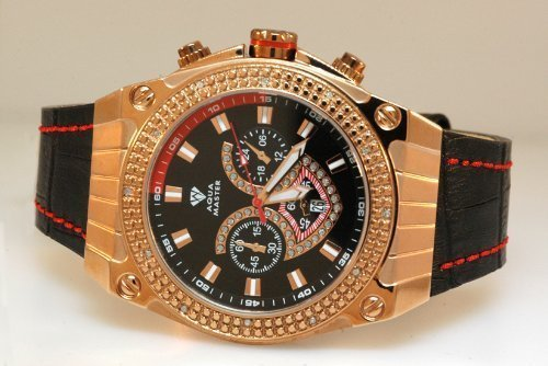 Aqua Master Yellow Gold Mens Diamond Watch Red Accent Dial by Aqua Master