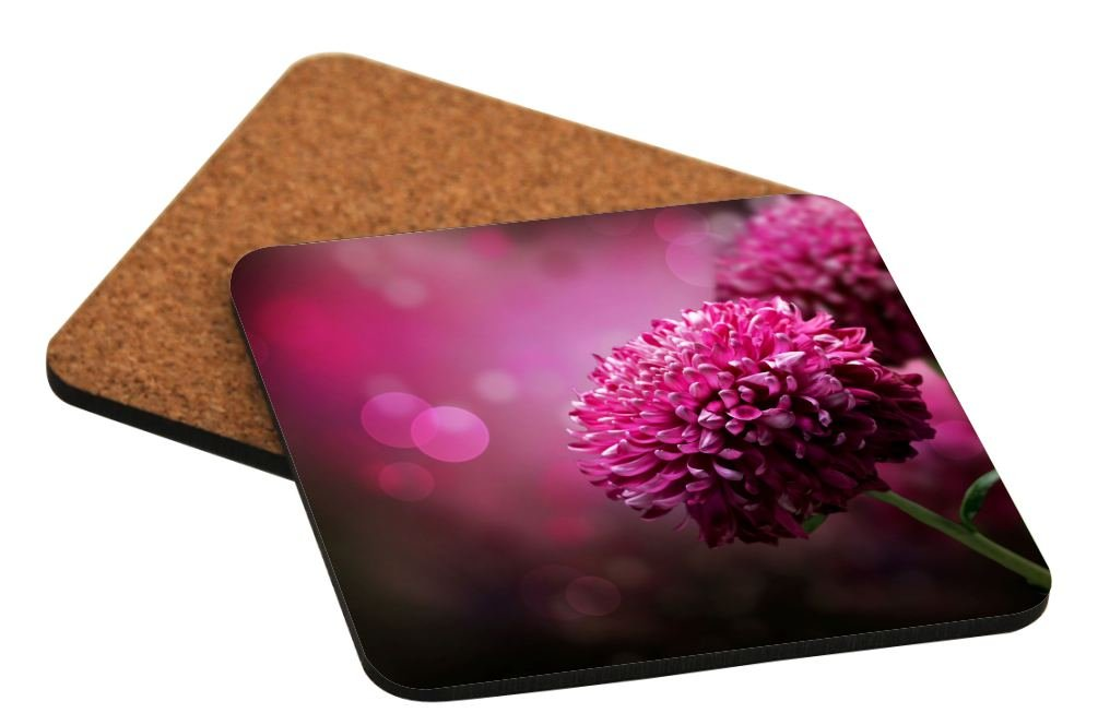 Rikki Knight Purple Dahlia Autumn Flower Design Square Beer Coasters