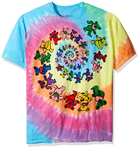 Dead Dye Grateful Tie - Liquid Blue Men's Grateful Dead Spiral Bears T-Shirt, Multi, X-Large