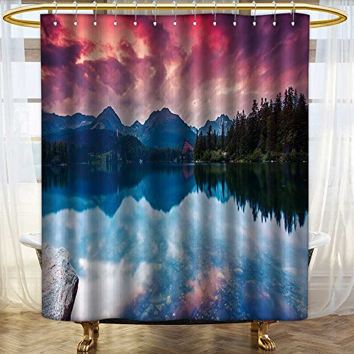 aolankaili Mildew Resistant Long Shower Curtain Mountain Lake in National Park High Tatra Dramatic Overcast Sky Strbske pleso Waterproof Water-Repellent /W72 x L72 ()