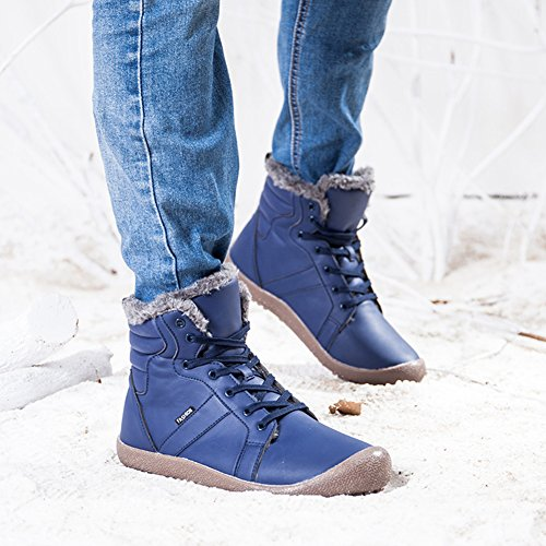 ukStore Mens Womens Ankle Boots Leather Waterproof Short Winter Boot Classic Casual Lace Up Warm Faux Fur Lined Snow Shoes Outdoor Blue wgisx3px