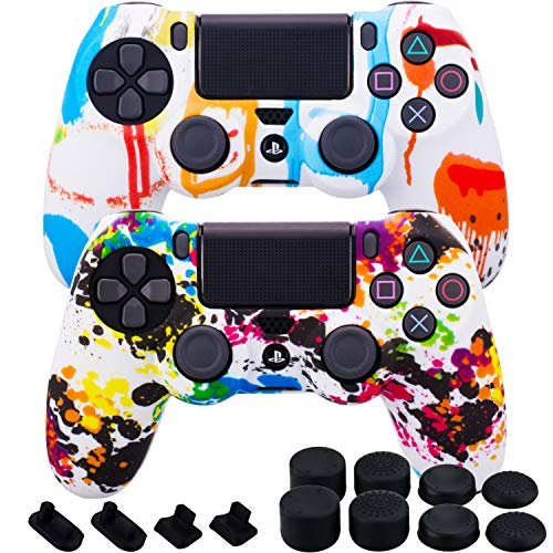 (MXRC Silicone rubber cover skin case anti-slip Water Transfer Customize Camouflage for PS4/SLIM/PRO controller x 2(Paint Pack) + FPS PRO extra height thumb grips x 8 + Dustproof Plug x 4)