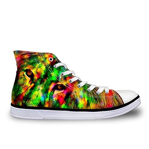 HUGS IDEA Cool 3D Animals Print High Top Canvas Shoes Men Fashion Sneakers Lion 2t5ZN