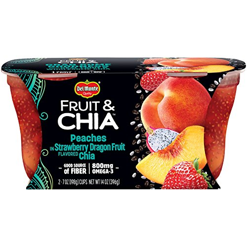 Del Monte Fruit & Chia Snack Cups, Peaches in Strawberry Dragon Fruit Flavored Chia, 7-Ounce Cups, 12-Count ()