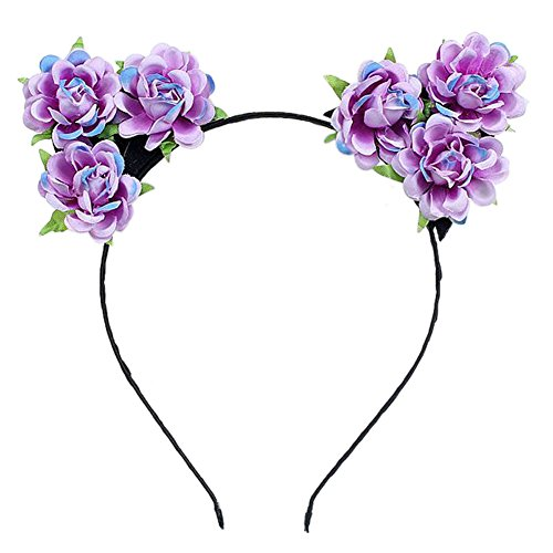 BAOBAO Cat Ears Elf Flower Headband Hairband Cosplay Costume Halloween Hair -