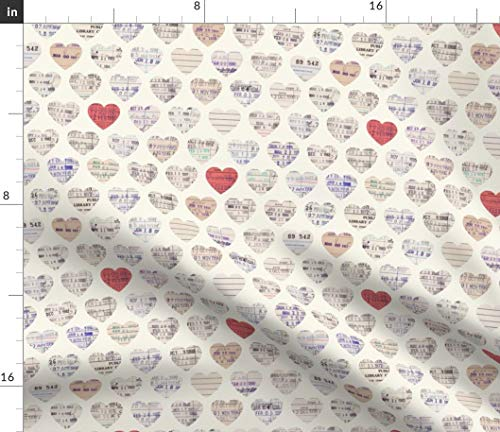 - Spoonflower Reading Fabric - Library Love Hearts Cards Red Tan White Ephemera Books Print on Fabric by The Yard - Petal Signature Cotton for Sewing Quilting Apparel Crafts Decor
