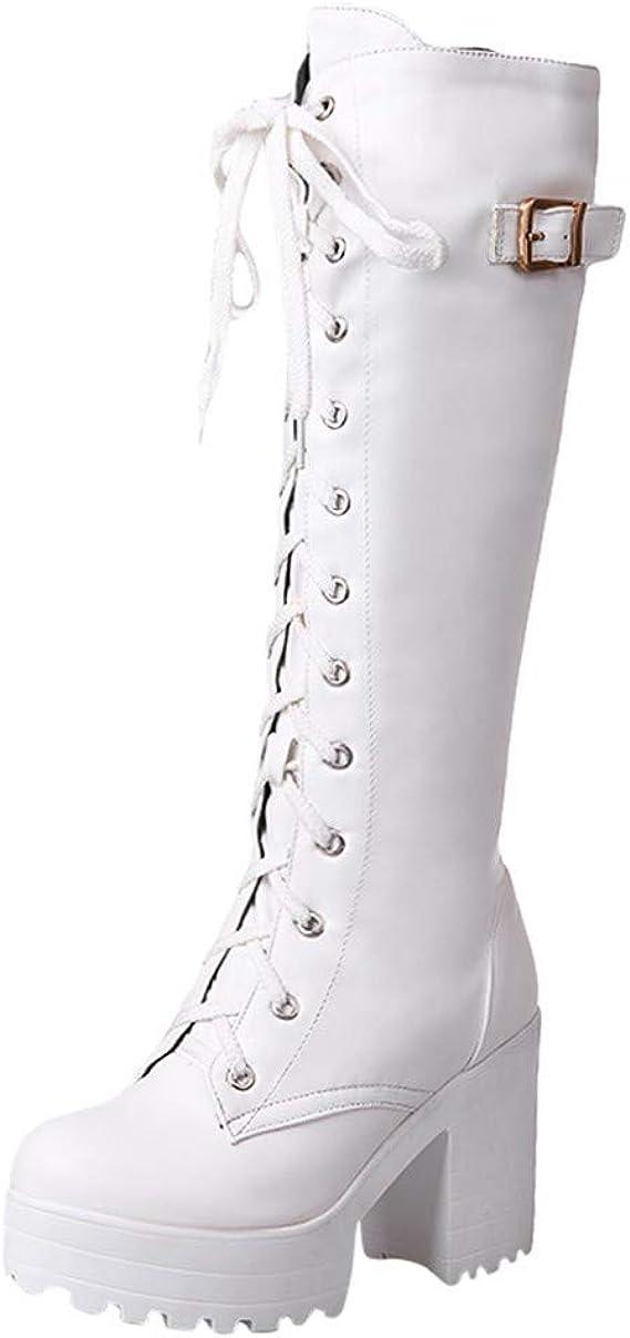Nouveau femmes haut mi talon bloc à lacets au-dessus du genou cuissardes taille zip