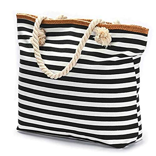(Extra Large Beach Bag Tote Straw Bag With Waterproof Inside Lining Tote Bag with Rope Handles (Black white stripe) ...)