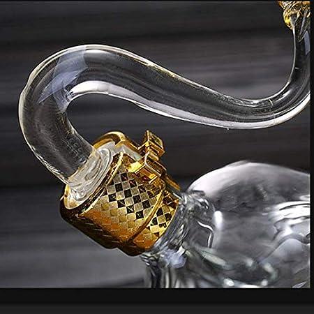 GXYtable cloth Decantador de vinos, Forma de Vaca Decantador de Whisky, 100% Hecho a Mano Vino Rojo Aerador Decantador Llegador Línea de Cristal Libre CHARAFE (Color : Cattle, Size : 1000ml)