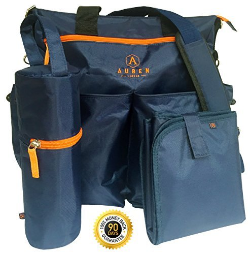 - Auben Diaper Bag with Changing Mat and Bottle Bag, Blue