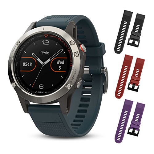 Garmin Fenix 5 Silver with Granite Blue band 010 01688 01 and Three Additional Wearable4U Quick Release Silicone Watch Bands Bundle