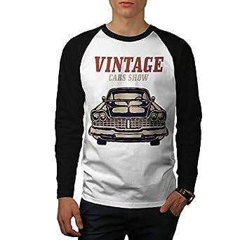 Amazoncom Wellcoda Vintage Car Show Retro Men SXL Baseball LS T - Car show t shirts